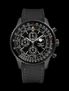 Navitimer 1461 mm) - Breitling - limited-edition selfwinding chronograph watch with black steel case, black dial and military strap. Breitling Navitimer, Breitling Superocean Heritage, Breitling Watches, Best Watches For Men, Luxury Watches For Men, Cool Watches, Men's Watches, Stylish Watches, Swatch