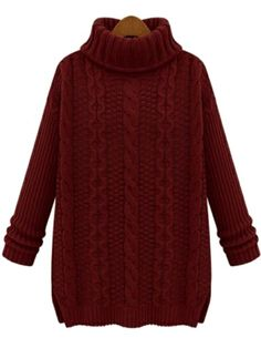 Wine Red High Neck Long Sleeve Cable Knit Sweater