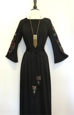 Vintage+70s+EMBROIDERED+DRESS+with+Angel+Sleeves+by+BoWinston,+$48.00