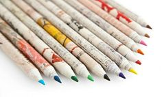 Poketo Recycled Paper Colored Pencils... funky colored pencils made out of recycled newspaper. Each set comes with 12 assorted colored pencils. Retails for $12.