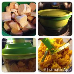 Tupperware Smart Steamer for sweet potatoes! Steamed 3 lg cubed potatoes for 15 mins, then mashed in Tupperware Quick Chef
