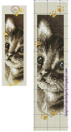 Kitten (no key) Cross Stitch Bookmarks, Beaded Cross Stitch, Cross Stitch Baby, Cross Stitch Animals, Cross Stitch Embroidery, Gato Crochet, Crochet Cross, Cross Stitch Designs, Cross Stitch Patterns