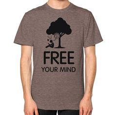 Free your mind Men's T-shirt, American Apparel T-shirt, graphic t-shirt, inspirational tee, holistic tee, custom t shirt (Black Icon)