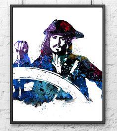 Aquarell von Captain Jack Sparrow, Fluch der Karibik Poster, Johnny Depp, Filmplakat, Fankunst, Wandkunst, Dekoration, Kinder Kunst - 146