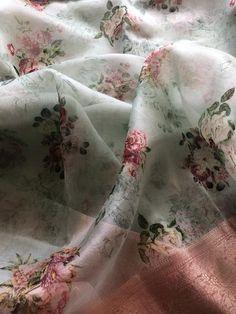Floral printed pure organza silk saree with banaras zari border comes with running blouse pc Floral Print Sarees, Saree Floral, Floral Prints, Cotton Saree Designs, Saree Blouse Designs, Embroidery Suits Design, Embroidery Fashion, Indian Silk Sarees, Pure Silk Sarees