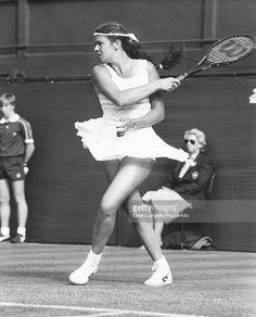 British tennis player Annabel Croft competing at Wimbledon Tennis Championships, London, England, June 1984.