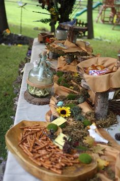 Birthday Woodland Forest Party. The food. Gnome Hats (bugles), Dew Drops (water), Fairy Berries (strawberries/blueberries), Twigs (pretzel rods), Pixie Punch (juice boxes), dried apples, Chipmunk chips (dried banas)