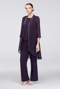 34ec6f6d598 Chiffon Three-Piece Pantsuit with High-Low Jacket 24799