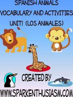 Animals Vocabulary Activities & Games Unit in Spanish (Los