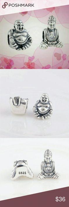 2 PCS Buddha charm bead set 2 PCS 925 sterling silver  Buddha charm beads fit Pandora bracelet and necklaces (not Pandora) Pandora Jewelry Bracelets