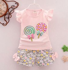 Baby girls clothes top summer Tee & floral short pants 2Pcs summer Outfits lolly - 12-18mths