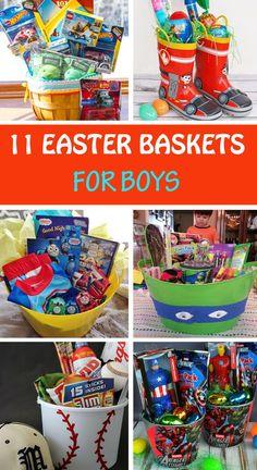 DIY Easter basket ideas for boys: cars, trains, superheros, Spiderman, Thomas, PawPatrol, Minecraft, Ninja, pirates, sports.