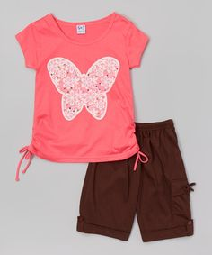 Love this Coral Floral Ruched Tee & Brown Bermuda Shorts - Toddler & Girls on #zulily! #zulilyfinds