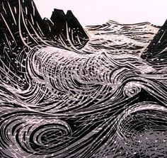 Woodblock by Merlyn Chesterman of Hartland, North Devon… Linocut Prints, Art Prints, Block Prints, Gravure Photo, Linoprint, Stencil Painting, Yarn Painting, Modern Artwork, Wood Engraving