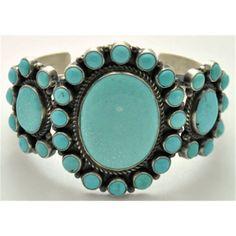 Navajo Kingman Turquoise Cluster Cuff Bracelet