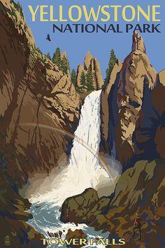 Tower Falls  Yellowstone National Park Art by NightingaleArtwork