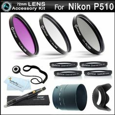 $40  Amazon.com: 72mm Filter Kit Bundle For Nikon Coolpix P510 Digital Camera Includes Necessary Tube Adapter (72mm) + Multi-Coated 3 PC Filter K...
