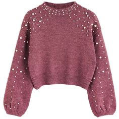 New Lady's Short Pearl Decorative Knitted Sweater ($20) ❤ liked on Polyvore featuring tops, sweaters, shirts, purple top, short tops, embellished sweaters, pearl sweater and embellished top