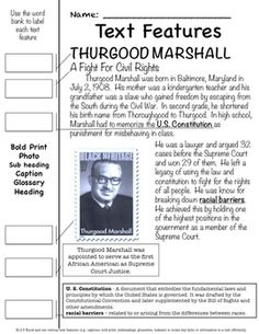 Thurgood Marshall Text Features Pages $1.99