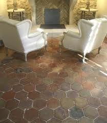 hexagon tiles in a kitchen floor