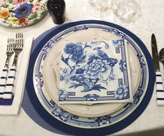 Caspari Blue and White Floral Printed Paper Dinner Plates Wholesale 12450DP & Caspari Moire Gold Solid Colored 3-Ply Paper Cocktail Napkins ...