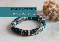 PDF Pattern for beaded crochet bracelet - Black silver bracelet - Seed bead crochet rope - Jewelry pattern - Geometric design - Office style