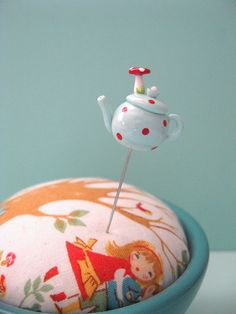 Aqua Mushroom Teapot Red Polka Dots Pin Topper by PinksAndNeedles