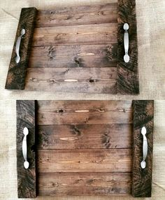Wood Pallets Ideas Rustic Pallet Wood Trays with Metal Handles - 130 Inspired Wood Pallet Projects Pallet Crafts, Pallet Art, Diy Pallet Projects, Wood Crafts, Woodworking Projects, Pallet Wood, Pallet Ideas, Kids Woodworking, Craft Projects