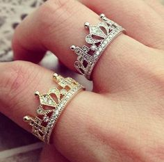 Gold and Silver Crown rings Price: $30 each Sizes 5-9:  In-stock: gold- 5, Silver- 9