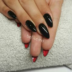 Black nails Red nails Louboutin nails Louboutin Red bottom Long nails Stiletto nails