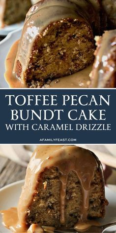 This easy Toffee Pecan Bundt Cake with Caramel Drizzle delivers on so many levels! A moist sweet brown sugar cake is full of milk chocolate toffee bits and chopped pecans. Then the cake is covered in a rich sweet caramel drizzle that is sugary perfection! Köstliche Desserts, Delicious Desserts, Dessert Recipes, Health Desserts, Caramel Drizzle Recipe, Toffee Cake Recipe, Toffee Bits Recipe, Brown Sugar Cakes, Bunt Cakes