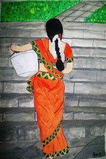 Artwork of an Indian woman , Punjab Art India Painting, Fabric Painting, Painting & Drawing, Painting Tips, Painting Quotes, Painting Gallery, Painting Lessons, Painting Tutorials, Indian Women Painting