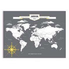 World map interactive family map mark the places by paperramma interactive family map easy custom gift for grandparents paperramma gumiabroncs Choice Image