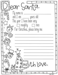 Letter to Santa Coloring Pages. 20 Letter to Santa Coloring Pages. Free Printable Christmas Coloring Pages with Jokes Preschool Christmas, Noel Christmas, Christmas Activities, Christmas Crafts For Kids, Christmas Colors, Christmas Traditions, Preschool Crafts, Holiday Crafts, Holiday Fun