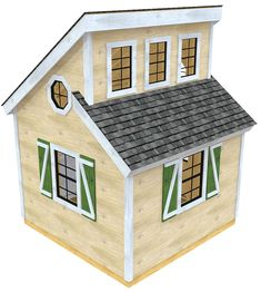 A high window, large backyard shed plan.  The Irene shed plan is perfect for those who need more space and plenty of light to fill it up.