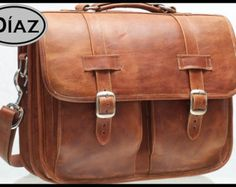 DIAZ Small Leather Messenger Briefcase / Backpack by DiazBags