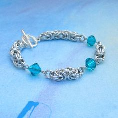 Aluminum Byzantine Chain Mail Bracelet, Aqua Blue Crystals, Women's Fashion Chain Maille Jewelry