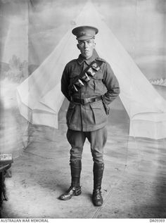 Studio portrait probably of 3286 Private (Pte) Frederick Walter Thomas, 28th Battalion, of Perth, WA. Pte Thomas enlisted on 20 July 1915 and died of wounds at Pozieres, in France, on 8 March 1917.