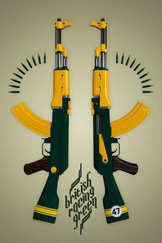 """British Racing Green"" - Twelve Four Haus Ak 47, Art Jokes, Gun Art, Creative Posters, Candy Colors, Graphic Design Inspiration, Firearms, Art Pieces, Prints"