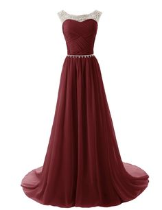Dressystar Beads Bridesmaid Dresses Pleated Prom Gowns Size 2 Burgundy
