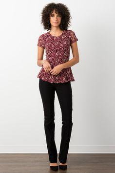 Suzy Shier Lace Peplum Top