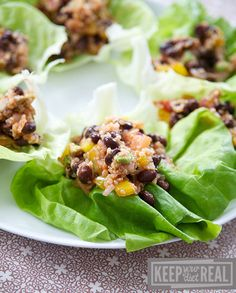 Quinoa and Black Bean Lettuce Wraps. I think this would be great with some avocado, too!