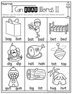 I Can Read Words! Simple CVC words to help BEGINNING readers! The first 2 lett… I Can Read Words! Simple CVC words to help BEGINNING readers! The first 2 letters are the same, which really helps them focus on the last sound! Kindergarten Worksheets, Kindergarten Classroom, Kindergarten Reading Activities, Kindergarten Language Arts, Phonics Worksheets, Teaching Reading, Teaching Kids, Learning, Student Reading