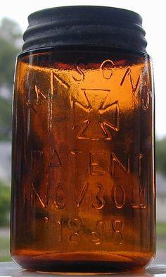 RARE AMBER MASON'S CROSS 1858 PINT CANNING FRUIT JAR