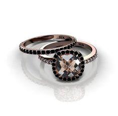 Black Diamonds Halo Engagement Ring 14K Rose Gold Smoky Quartz Ring