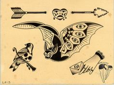 Traditional tattoo flash. I love the bat and his happy face