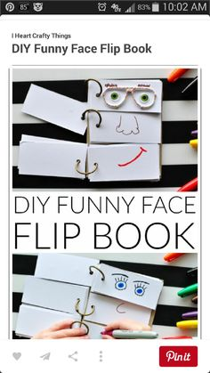 This DIY Funny Face Flip Book is simple to put together and will keep the kids creatively entertained all afternoon. - This DIY Funny Face Flip Book is simple to put together and will keep the kids c. Summer Activities For Kids, Craft Activities, Toddler Activities, Summer Kids, Babysitting Activities, Summer Food, Activity Toys, Summer Crafts Kids, Simple Crafts For Kids