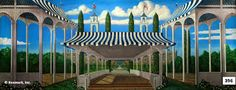 this backdrop can be used for a scene in which a terrace or walkway is required, notice the mansion at the back, could be used for an upper class persons house.