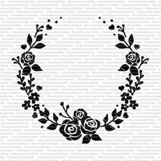 wreath with roses Deer Silhouette, Wreath Drawing, Stencils, Make Design, Vinyl Projects, Silhouette Projects, Diy Cards, Swirls, Embroidery Patterns
