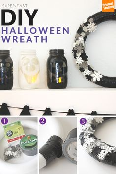 "Infuse spook and sophistication into your Halloween décor this year with a quick and easy DIY Halloween wreath. Start with a circular object lying around the house, wrap with duct tape in a color of your choosing, glue any combination of Oriental Trading Halloween craft supplies, and ""BOO(m),"" you're done! Display on your front door or surrounded by DIY pumpkin candles on a mantle. If you like the wreath, be sure to check out our Halloween door decoration ideas!"